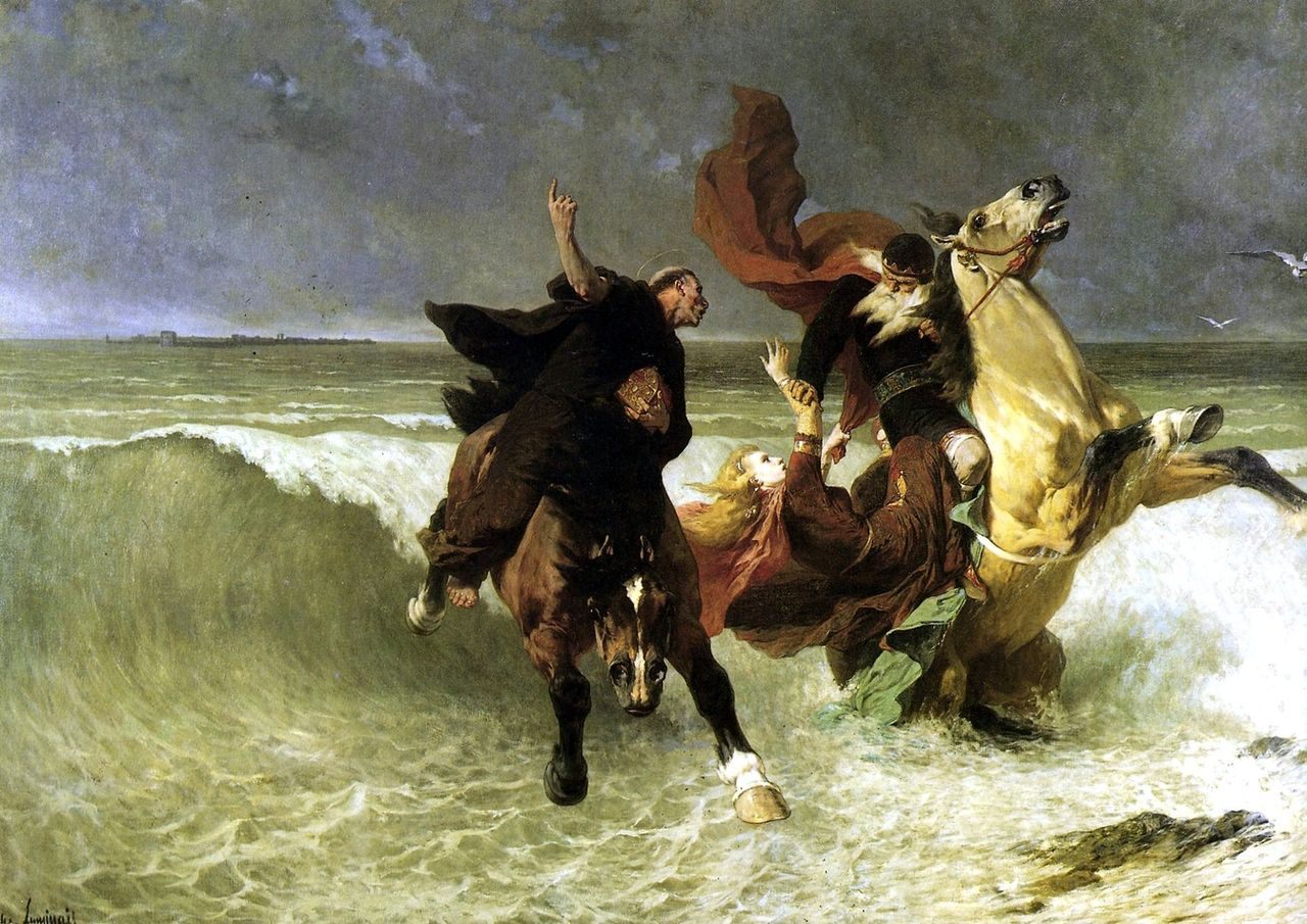 Flight of King Gradlon, by E. V. Luminais. Source: Wikipedia
